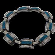 "Taxco Sterling Turquoise Inset Link Bracelet Marvrez 7"""