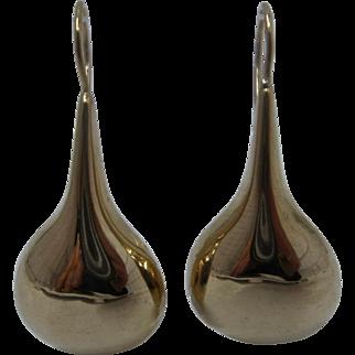 Impressive 14K Gold Teardrop Dangle Earrings Pierced Ears