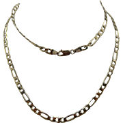 "Italian 14K Figaro Link Chain Necklace Technigold 4.5 mm 24""L Unisex"