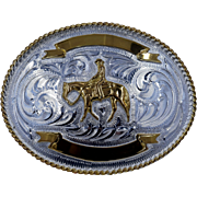"Vintage Big Rodeo Belt Buckle in Box Tex Tan 4 1/2"" x 3 1/2"""