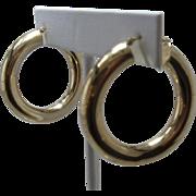 """Big 14K Round Tube Hoop Earrings 1 3/8""""d"""
