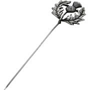 Large Cast Sterling Silver Thistle Stick Pin Kilt Pin
