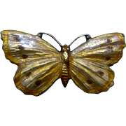 C. Thomae & Son Sterling Guilloche Enamel Butterfly PIn Ca 1920s