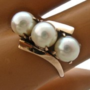 Vintage 10K Rose gold Three Pearls By-Pass Ring Sz 6 3/4