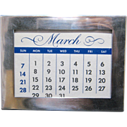 Ca 1930 Tiffany Sterling Frame Perpetual Calendar Wood Back