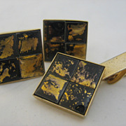 Black & Gold Tiles Cuff Links Tie Bar Large ca 1960s
