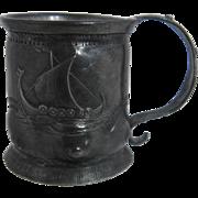 Vintage Norway Glitter Tinn Norwegian Pewter Mug Miniature Tankard