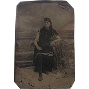 Late 1800s Tintype Woman Bather Bathing Suit Sixth-Plate