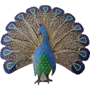 Topazio Portugal Enamel Sterling Peacock Filigree Pin Brooch