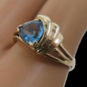 14K Swiss Blue Topaz Deco Style Ring Sz 6 3/4