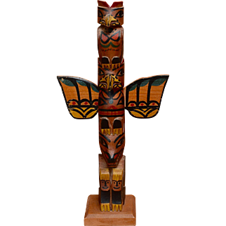 Mid 1900s Carved HP Wood Totem Pole Eagle Raven Bear 13""