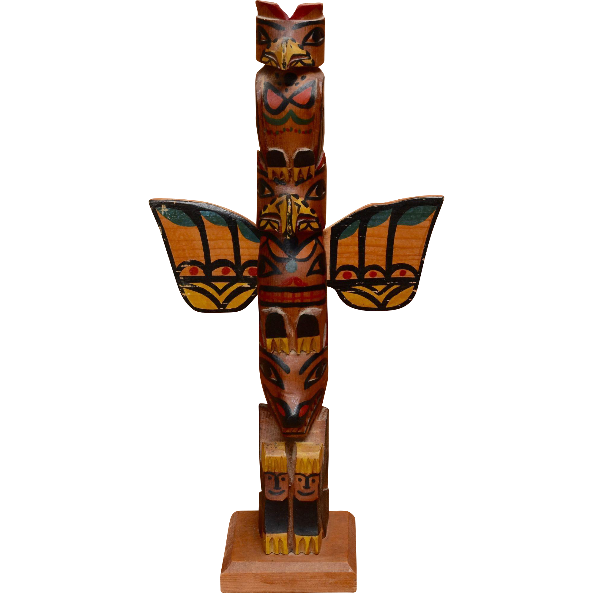 "Mid 1900s Carved HP Wood Totem Pole Eagle Raven Bear 13"""