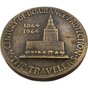 1964 Travelers Insurance Commemorative Bronze Coin 100 Year Anniversary