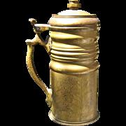 WWI Era Trench Art Tankard Hammered Brass Hinged Lid