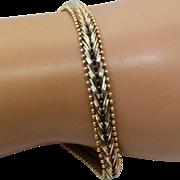 """Italian 14K Rose, White, Yellow Gold Chevron Link Bracelet 7 1/4"""""""