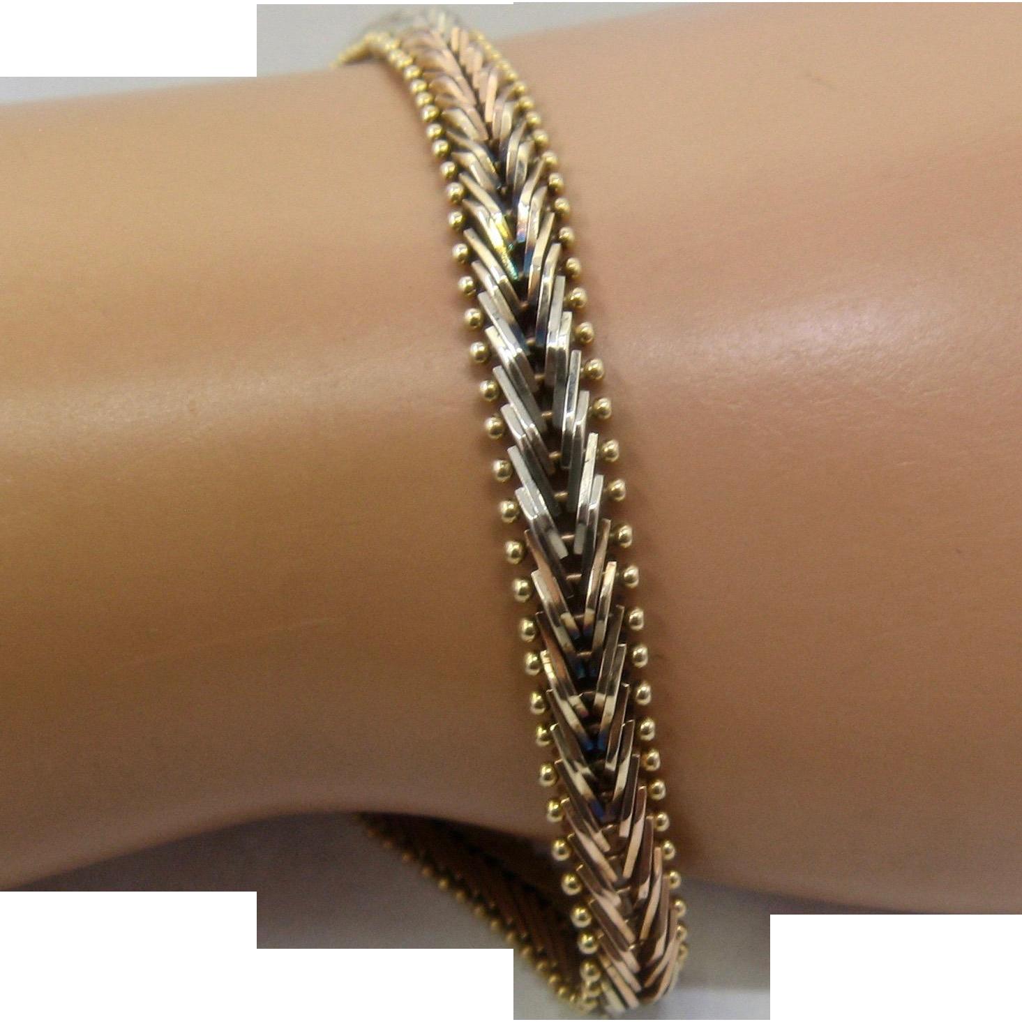 Chevron bracelet - Italian 14k Rose White Yellow Gold Chevron Link Bracelet 7 1 4