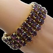 "1960s Triple Strand Amethyst Glass Rhinestone Bracelet Goldtone 7"""