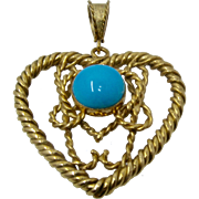 Heavy 18K Rope Heart w/ Persian Turquoise Center Pendant 21.1 Grams