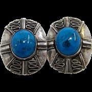 Vintage Turkish 900 Silver Turquoise Post Earrings