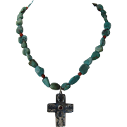"""Vintage Navajo Sterling Cross Turquoise Beads Necklace 15 1/2"""""""