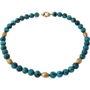 "Turquoise Bead Necklace w/ 14K Beads & Clasp  18"" Long"