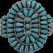 "Navajo Turquoise Sterling Petit Point Cluster Cuff Bracelet Sz 6 3/8"""