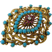 Exquisite 18K Persian Turquoise Rubies Diamond Pin Brooch Ca 1930s