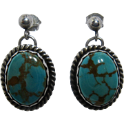 Navajo Sterling Bisbee Turquoise Drop Earrings Pierced Ears Pat Platero
