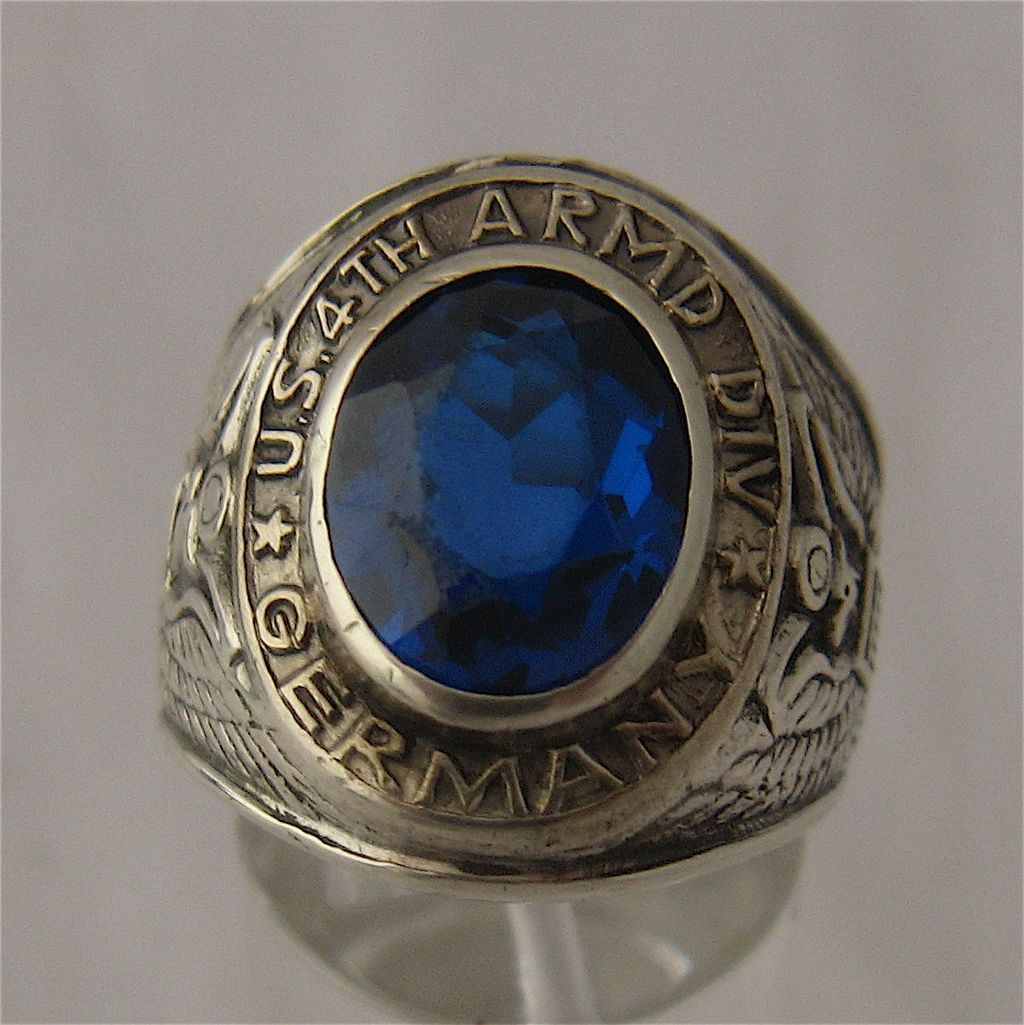 Wwii Us 4th Armored Division Germany Ring Sterling