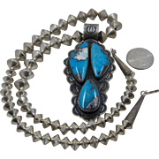 Huge Vernon Begay Navajo Sterling Turquoise Necklace 23.5""