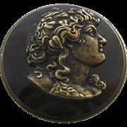 Victorian Maenad Brass Cameo Metal Shank Button