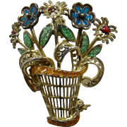 1940s Germany Sterling Vermeil Enamel Basket of Flowers Pin Plique-à-jour