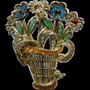1940s Germany Sterling Vermeil Enamel Basket of Flowers Pin Plique-à-jour