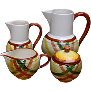"4 Pieces 1950s Vernonware California ""Homespun"" 2 Pitchers Sugar Creamer"
