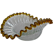 Victorian Blown Glass Bowl Crimped Ruffled Clear w/ Amber Edge