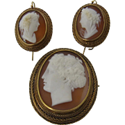 Ca 1850s Hardstone 14K Cameo Set Pin & Earrings Pierced Ears