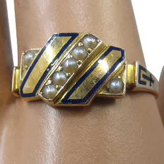 1877 Victorian 15K Seed Pearls Taille d'épargne Enamel Ring Size 7