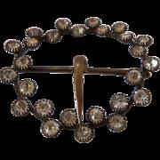 Victorian Round Brass Buckle w/ Bezel-Set Paste for Belt Sash