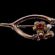 Victorian 10K Wishbone Pin w/ Pearl & Flower