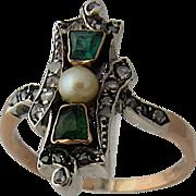 "Victorian 18K ""Emeralds"" Rose Cut Diamonds Pearl Ring Sz 10"