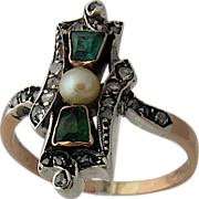 "Victorian 18K ""Emeralds"" Rose Cut Diamonds Pearl Ring Sz 10"