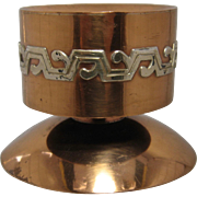 Ca 1960 Victoria Taxco Copper & Silver Mixed Metal Candlestick