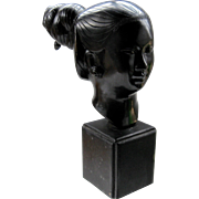 Ca 1950s Vietnamese Bronze Bust of Laos Woman on Wood Plinth by Nguyen Thanh Le