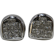 18K White Gold Pave Princess Diamonds Earrings Shield-Shape
