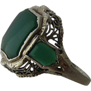Art Deco 14K White Gold Chrysoprase Filigree Ring Sz 5.5