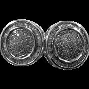 14K WG Pave Diamonds Double Circles Earrings Post