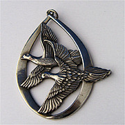 1972 Wallace Sterling Peace Doves Christmas Ornament Pendant