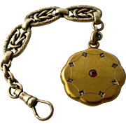 Victorian 14K Watch Fob Locket w/ Fancy Chain Ruby Diamonds