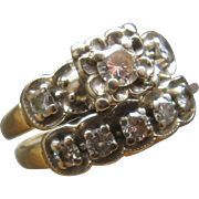 1950s Heartlock 14K Diamonds Wedding Ring Set 1.12 CTW Sz 5.5