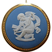 1970s Van Dell Wedgwood Blue Jasperware Cupid PIn Pendant